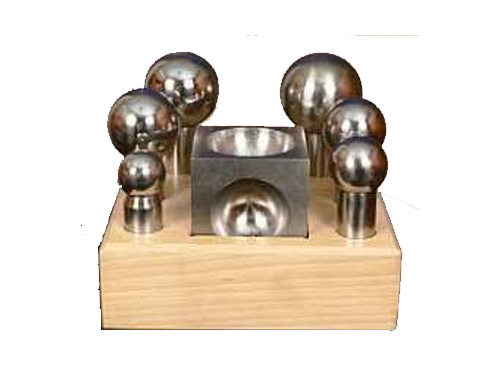 "Dapping Punches Jumbo with Matched 3"" x 3"" Block on Wood Stand"