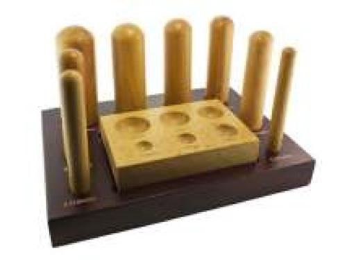 Wood Dapping Punches, Set of 8 with Block & Stand